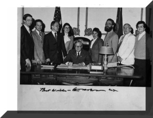 Indiana Governor Otis 'Doc' Bowen signs Indiana solar and renewable energy tax credits in 1980