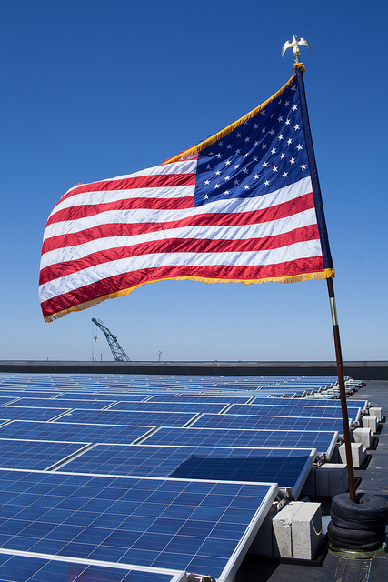 American flag with solar panels