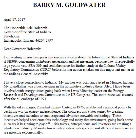 Snip of Goldwater Letter to Holcomb 1