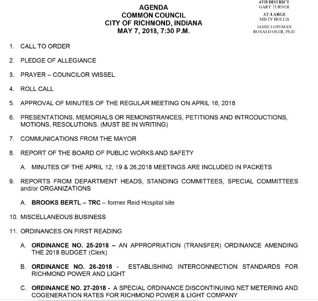 Richmond Council Agenda 5-7-18
