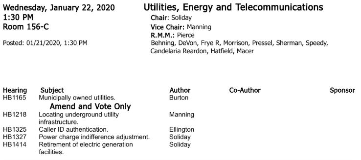House Utilities agenda 1-22-2020