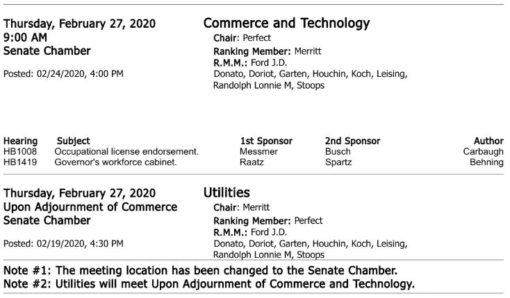 Senate Commerce and Utilities agendas