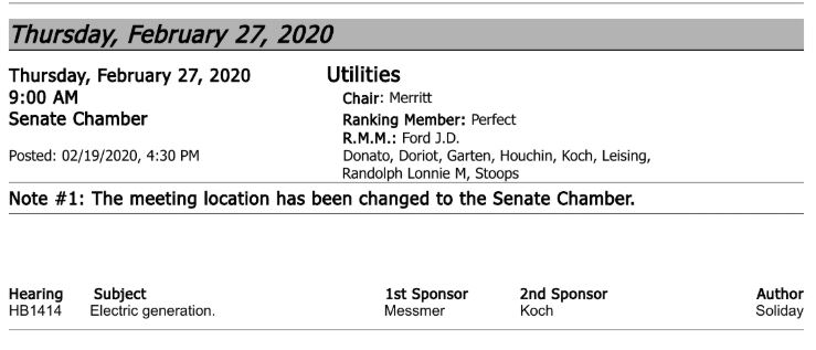 Update Senate Utilities hearing on HB 1414